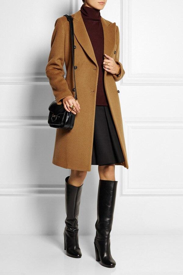 Manteau femme UK New Fashion 2017 Notched lapel Simple Career Long coat  Women Brown Overcoat Winter Warm Casacos femininos - Winter Coats Uk Promotion-Shop For Promotional Winter Coats Uk On