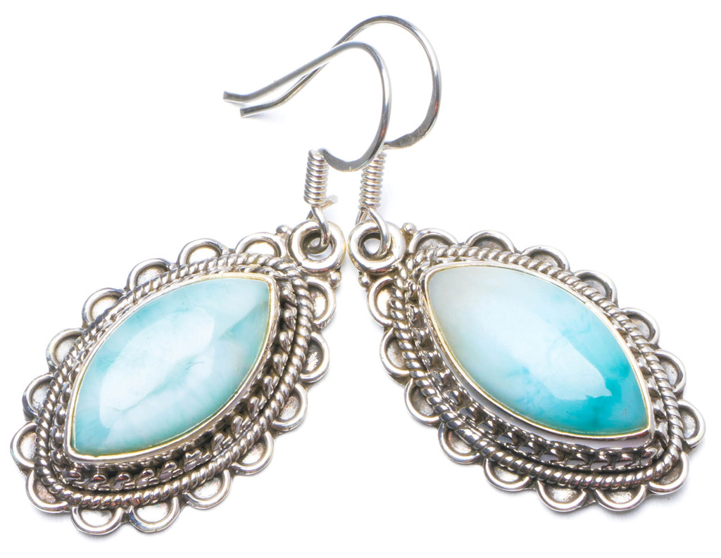 Natural Caribbean Larimar Handmade Unique 925 Sterling Silver Earrings 1.5 Y0250