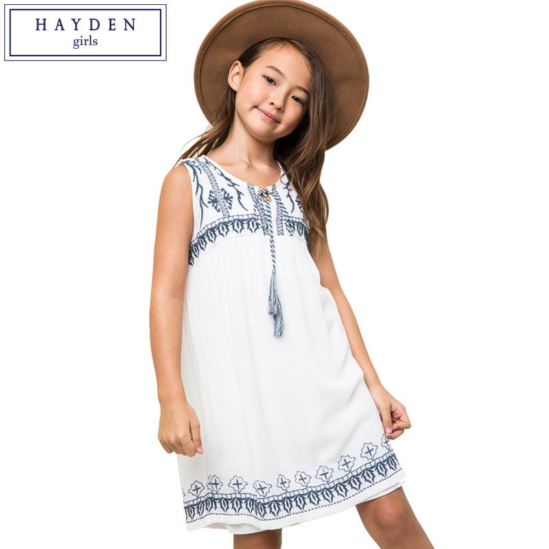 HAYDEN Girls Bohemian Beach Dress 2017 Summer Big Girls Sleeveless Embroidered Dress Age 7 8 9 10 11 12 13 14 Years Teen Clothes laoa high precision digital termomete infrared forehead body thermometer gun non contact temperature measurement device