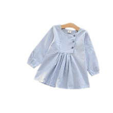 Baby Girls Dress 2016 New Autumn Korean Stripe Button Long Sleeved Girls Party Dress For 2-7 Years Baby Birthday Dress Vestidoes