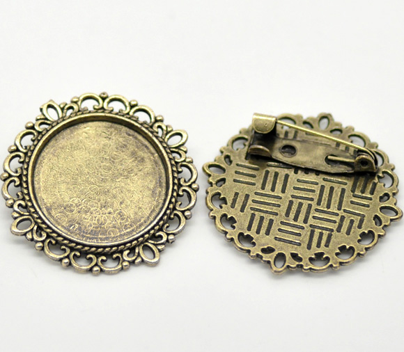 DoreenBeads Zinc Metal Alloy Brooches Findings Round Antique Bronze Cabochon Settings(Fits 20mm)3.2cm X 3.2cm ,2 PCs