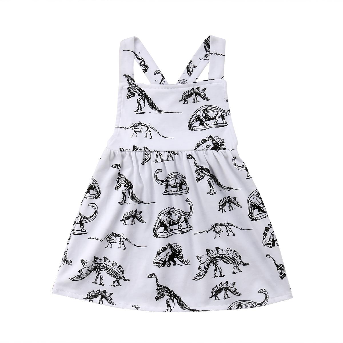 Dinosaur Print Newborn Kids Baby Girls Cotton Sleeveless Dress Sundress Baby Girls Summer Clothes