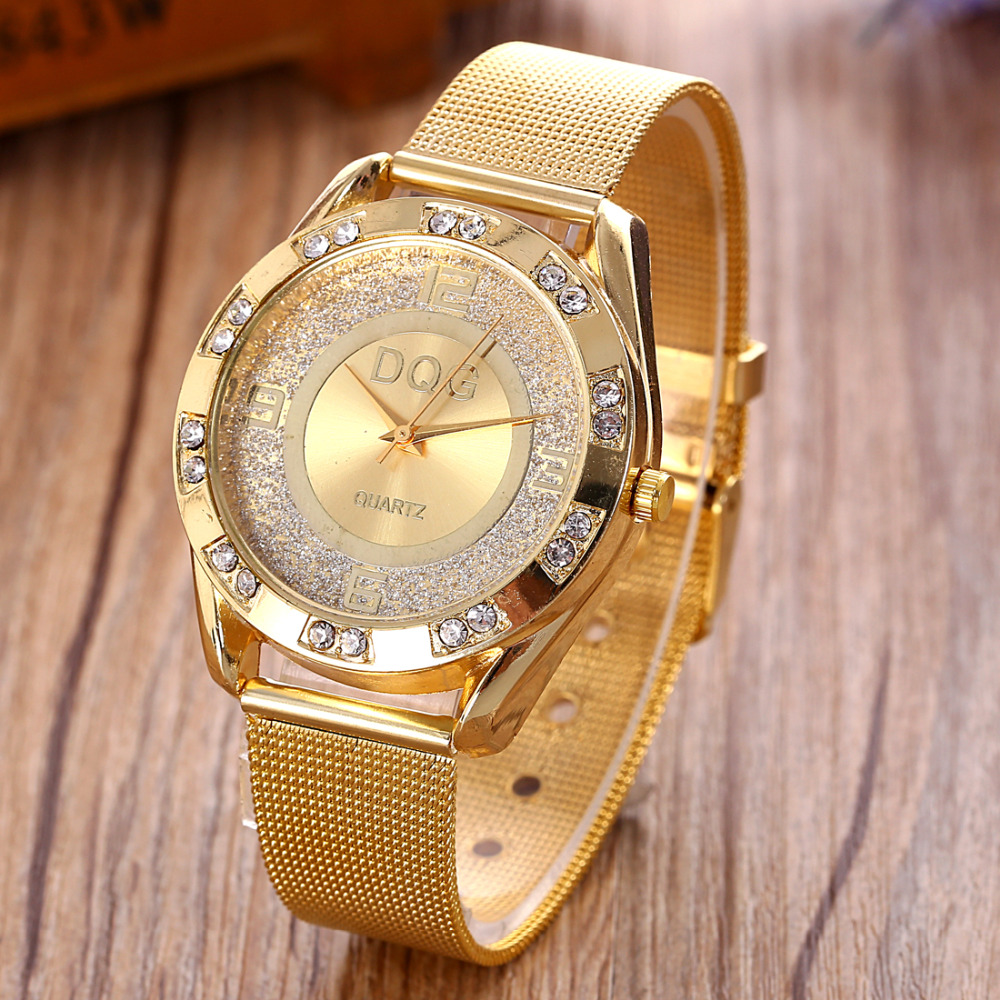 Relojes Luxury Brand DQG Golden Metal Mesh Women Quartz Wrist Watch New Fashion Casual Crystal Ladies Watches Relogio Feminino
