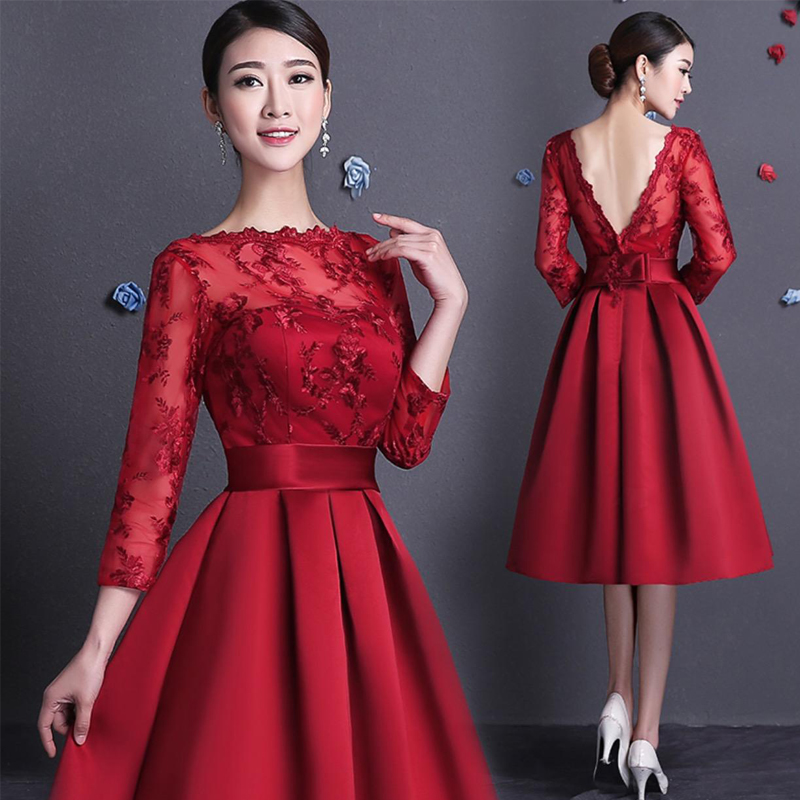 Online Shop Knee length Lace Bridesmaid dresses Full long sleeve A ...
