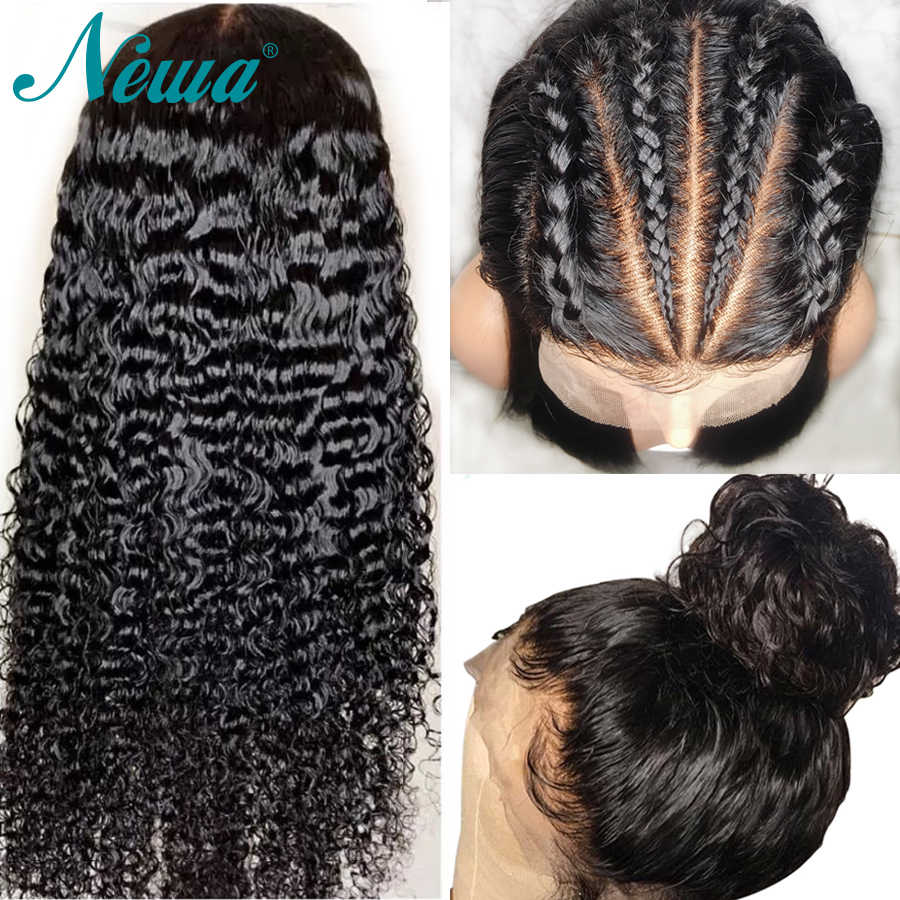 Newa Hair Fake Scalp Wig Brazilian 370 Lace Frontal Wigs Pre Plucked With Baby Hair Remy Curly 13x6 Lace Front Human Hair Wigs