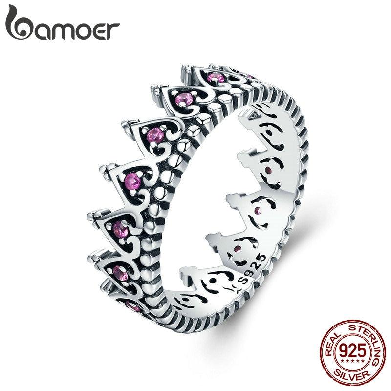 BAMOER 925 Sterling Silver Romantic Stackable Crown Heart Pink CZ Finger Rings for Women