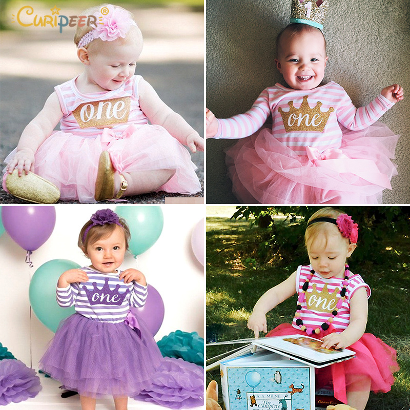 7eae60fb3860 2019 Popular Baby Girls Dresses For One Years Old Birthday Party ...