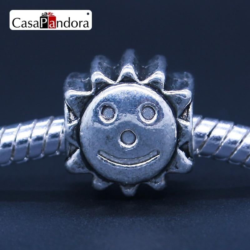 CasaPandora Fashion European Silver-Colored Sunflower Flower Face Smiling Face Fit Pandora Bracelet Charms DIY Jewelry