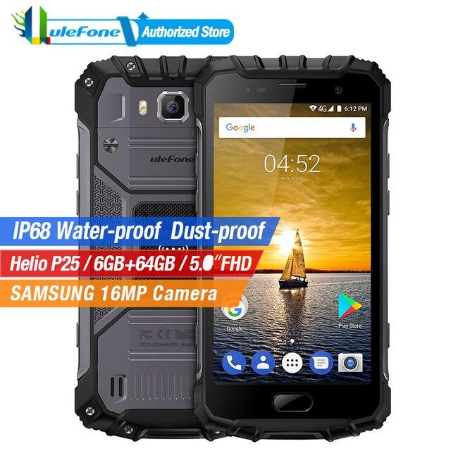 Ulefone Armor 2 IP68 Waterproof Mobile Phone 5.0 Inch FHD 6GB RAM 64GB ROM Helio P25 Octa Core 2.6Ghz NFC 4700mAh Dustproof 4G