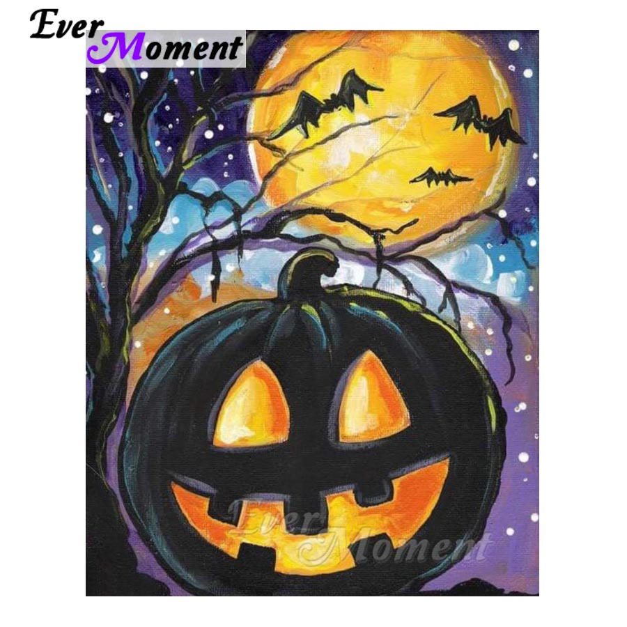 Ever Moment Diamond Painting Halloween Pumpkin Moon Bat 5D DIY Diamond Painting Decoration For Home Picture Mosaic S2F416