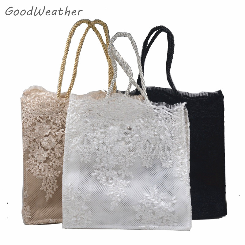 Designer small flower print lace bag for wedding party 2size 3colors lady floral tote bag high quality luxury vintage women bags