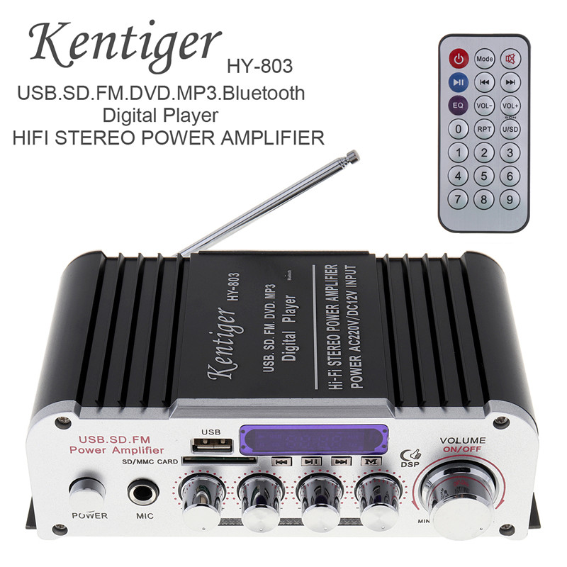 все цены на Universal 2CH HI-FI Bluetooth Car Audio Power Amplifier FM Radio Player Support SD/USB/DVD/MP3 Input for Car Motorcycle Home