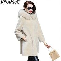 AYUNSUE Women's Fur Coat Real Wool Fur Jacket Sheep Shearing Fur Coats 2018 Winter Jackets for Women Natural Fox Fur Trim Hooded