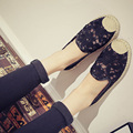 2016 nueva primavera verano mujer zapatos de las mujeres pescador ocio mocasines zapatos respirables femeninos de Encaje de flores zapatos planos k534