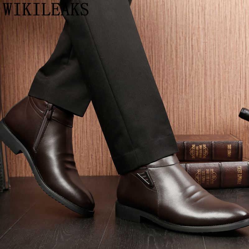Botas de invierno para hombre Zapatos de invierno 2019 botas de tobillo para hombre Zapatos formales de cuero botas de nieve para hombre botas para