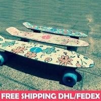 Free Shipping Mini Cruiser Skateboard 22 Inch Peni Board Flowers Printing Plate Plastic Fish Banana Skateboard