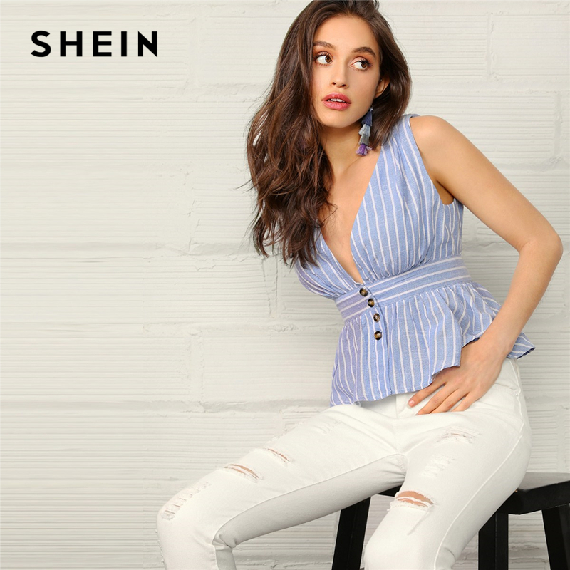 SHEIN Boho Blue Plunging Neck Buttoned Front Peplum Striped Top Blouse Women Summer Sleeveless Sexy Elegant Tops And Blouses