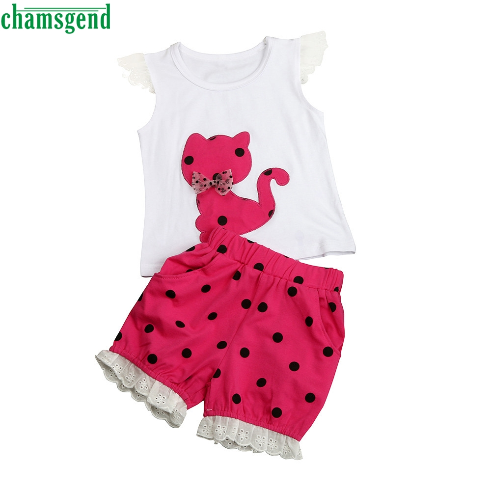 CHAMSGEND Summer Baby Girls Clothing Set Children Bow Cat Shirt+Shorts Clothes Set Suit MAR5 P30 dorp ship