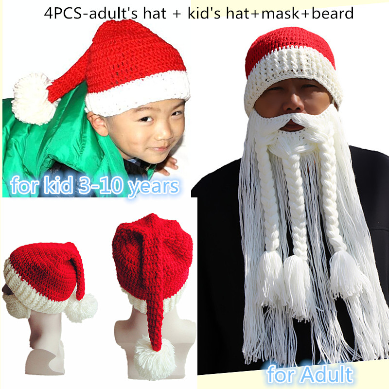 BomHCS Funny Series (4PCS) Christmas Gift Santa Claus Big Beard Hat + KIDS Beanie Mask Handmade Winter Knitted Cap