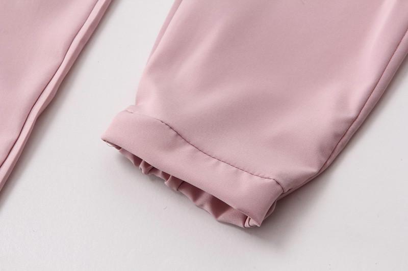 Chiffon Elastic Waist Solid Color Office Pants 22