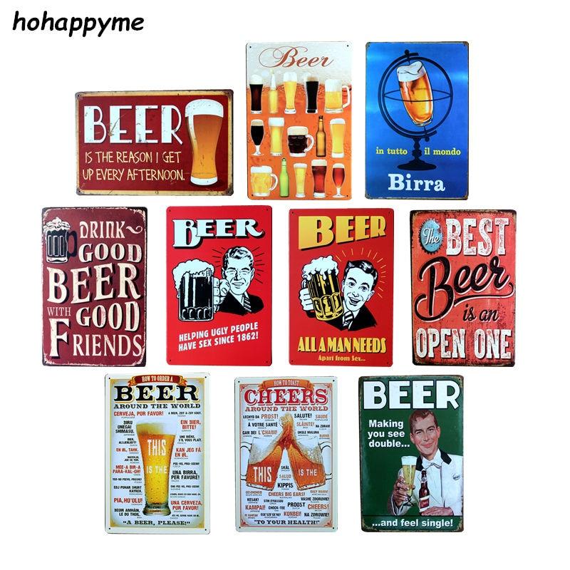Vintage Tin Beer Signs Antique Decorative Metal Plaques Beer Carteles Vintage Metal Plaque Metal Vintage Pub 20*30cm