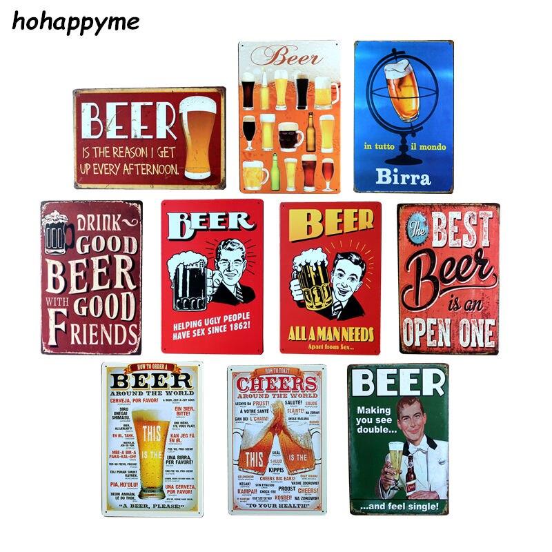 Vintage lata de cerveza señales antiguo Metal decorativo placas cerveza Carteles Vintage, placa de Metal Vintage Pub 20*30cm Candelabro hueco de Metal, vela artesanal, luz de té, decoración del hogar, candelero marroquí, candelabro, decoración de boda