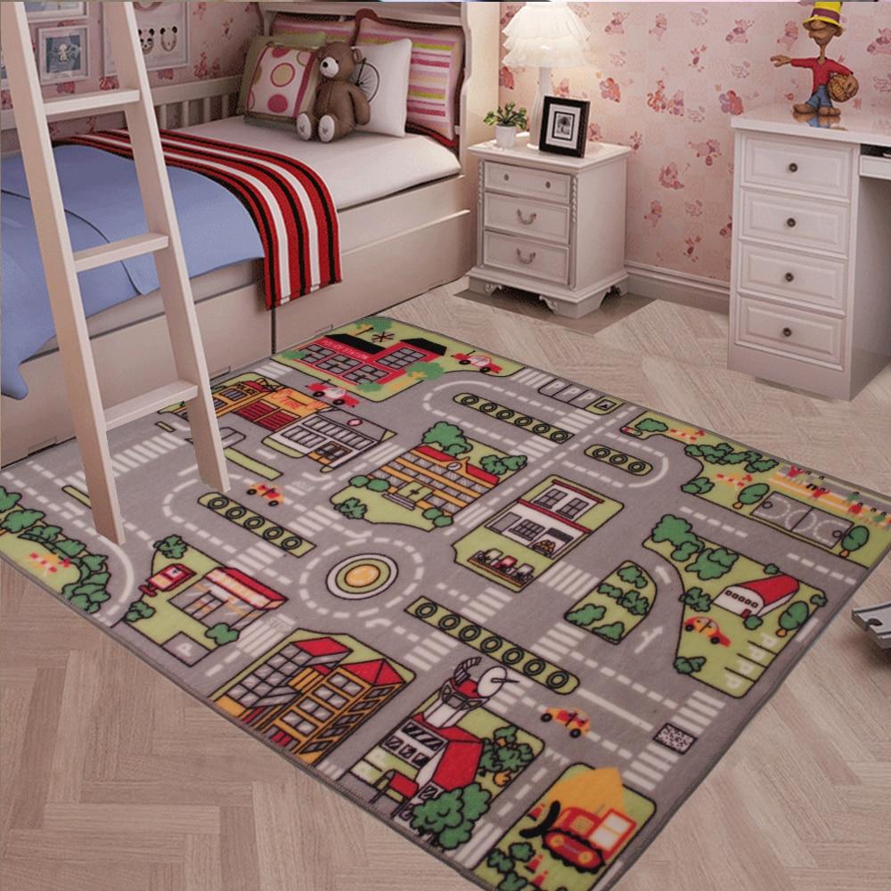 Yazi Children Baby Kids Interest Play Game Rug Racing Track Carpet Living Room Bedroom Home