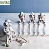 Horror Home Table Decoration Statue Handicraft Human Terror Resin Skull Skeleton Sculpture Halloween Decoration Model Art Gift
