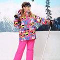 New Winter Children Ski Set Windproof Outddoor Teenage Girls Floral Jacket+Bib Pants 2pcs Set Girls Ski Suit for 6-17Y