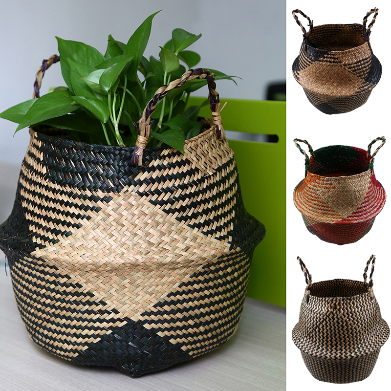 Foldable Braided Seagrass Belly Woven Basket Flower Plant Pot Storage Bag Decor