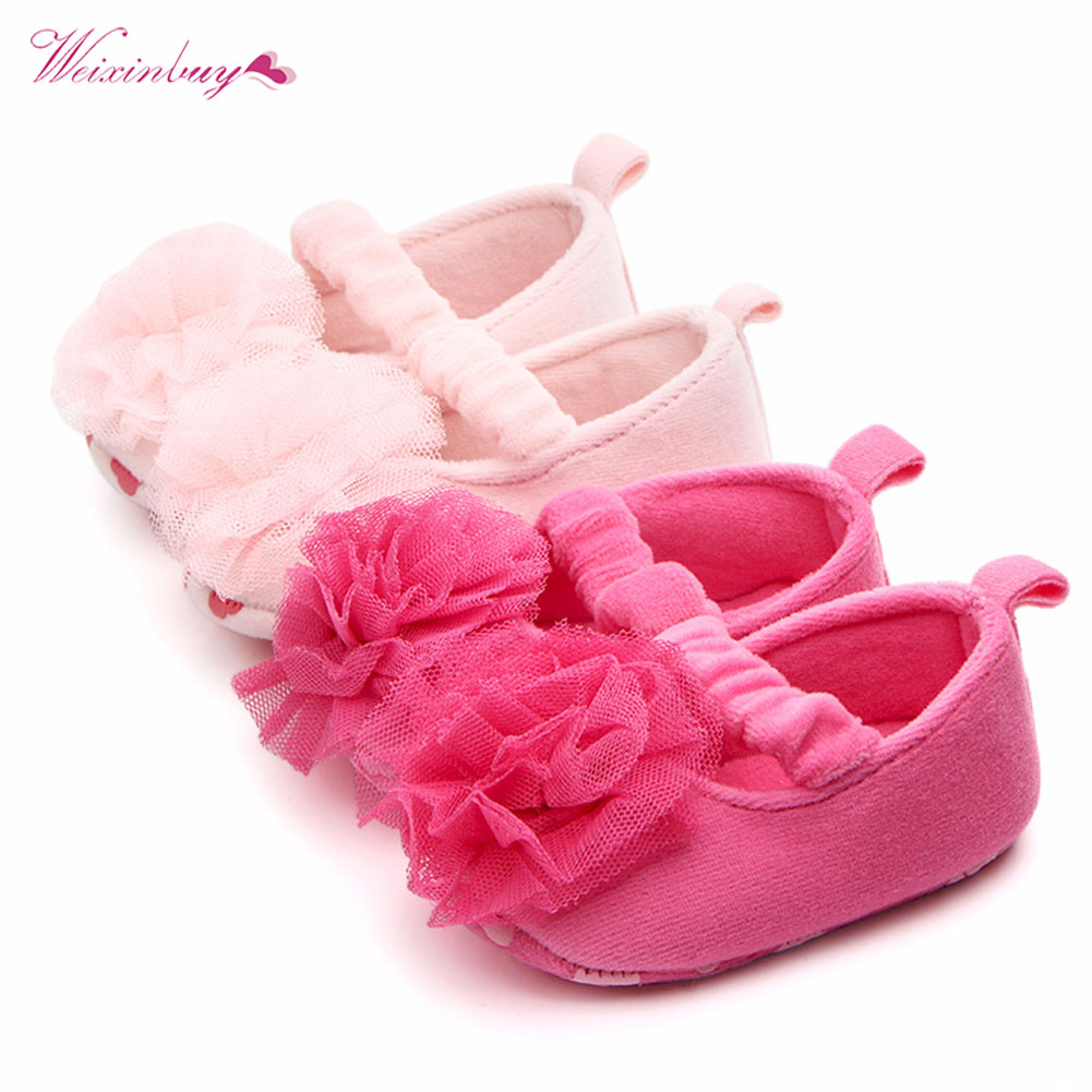 Newborn Baby Girls Shoes First Walkers Crib Shoes Footwear Flower Print Infant Toddler Prewalkers Ballet Dress Baby Shoes