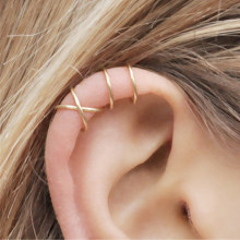 Fashion 2Pcs/Set Cartilage Punk Ear Cuff Clip-On Earrings Non-Piercing Cross 3 Color Wrap Clip Earrings(China)