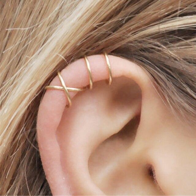 Thời trang 2 cái/bộ Sụn Punk Ear Cuff Clip-On Bông Tai Non-Piercing Chéo 3 Màu Bọc Clip Bông Tai