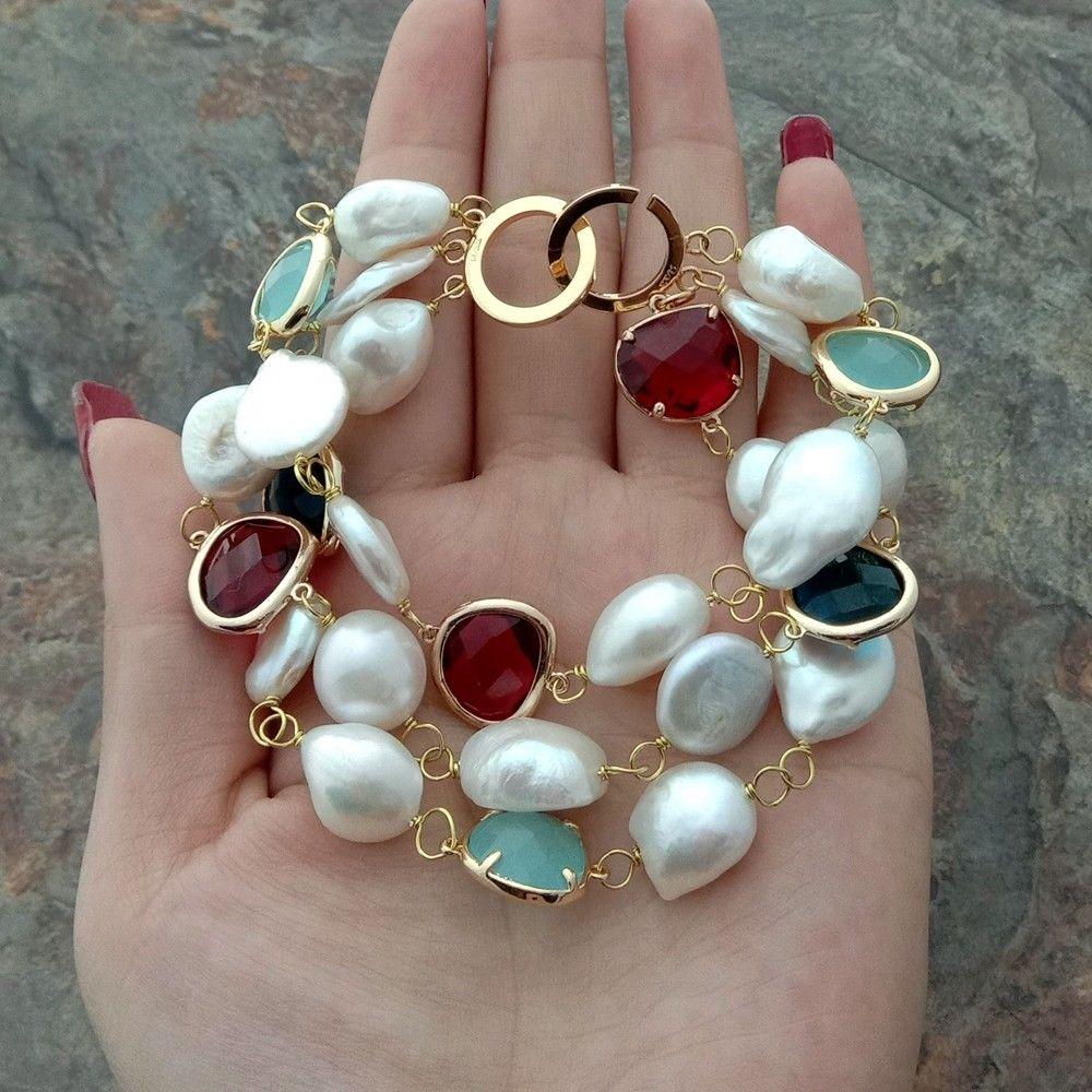 8.5 ''3 rangées de perles baroques blanches perle Bracelet en cristal
