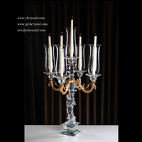 Luxury Golden Arms Crystal Candelabra Candle Holder For Wedding Decortion,Wedding Crystal Candelabra On Sale