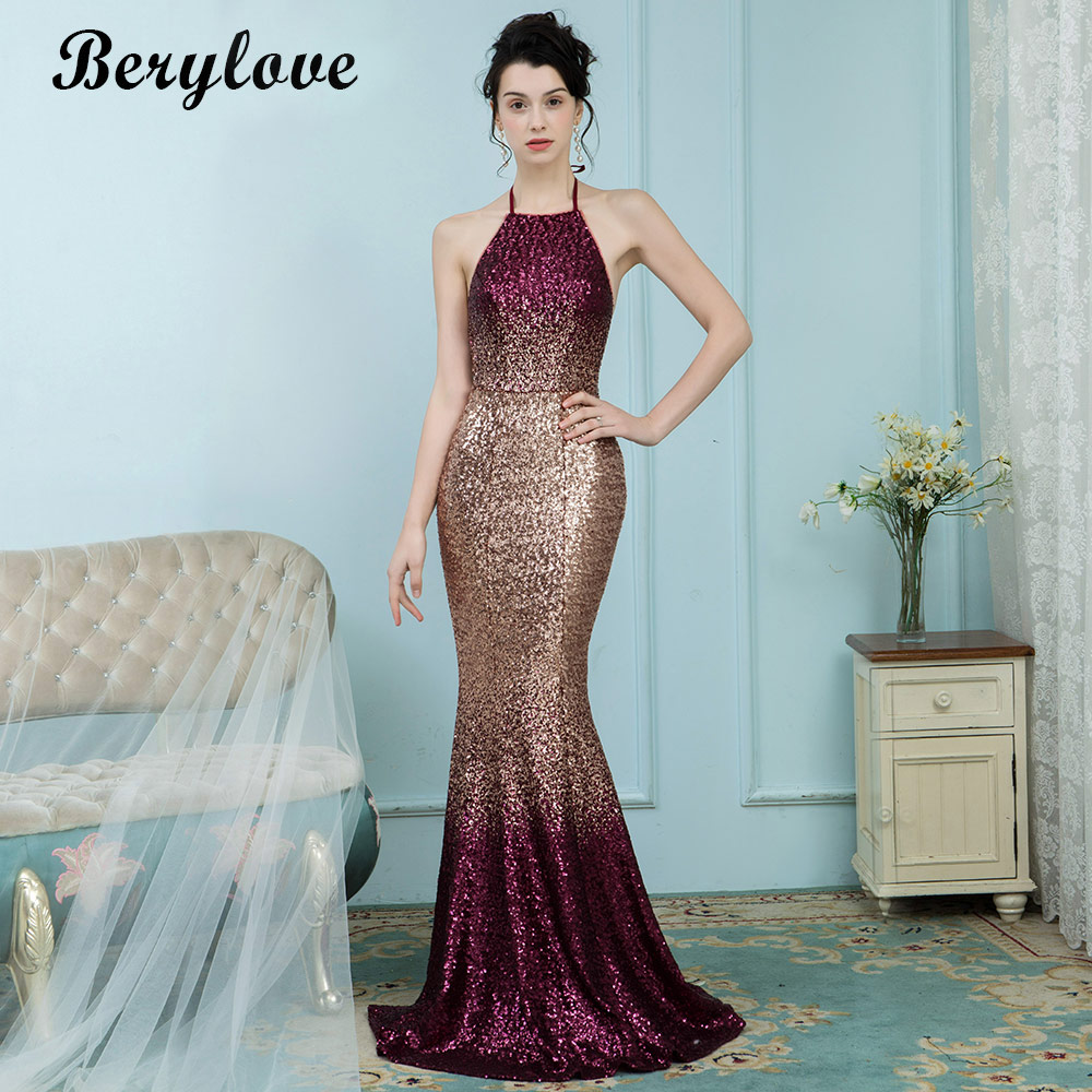 BeryLove Gradient Color Mermaid Evening Dresses Styles Women Long ...