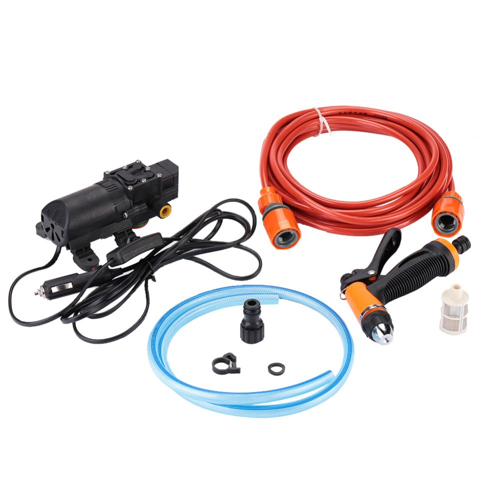 DC 12V Durable High Pressure Water Pump Car Washer Washing Pumps Tubing Garden Cleaning Spray Water Gun Pie Kit Tool 25ft car wash pipe 7 in 1 spray gun modes garden hose durable latex 3 times expandable for cars washing garden watering home
