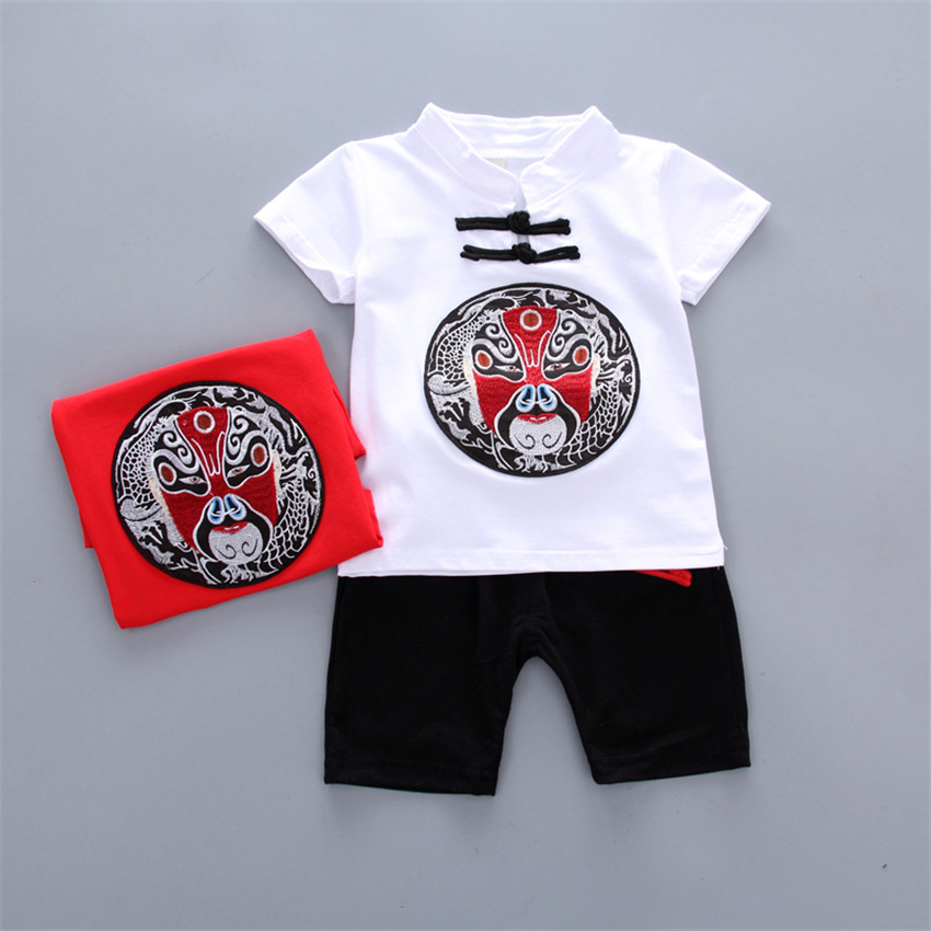 Chinese Style 2018 Summer Toddler Boys Clothing Facial Masks Embroidery Traditional Kids 2-6 Years T-shirt+Pants Set ...