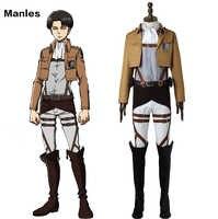 Attaque sur Titan Cosplay Levi Rivaille Rival Ackerman Costume Shingeki no Kyojin enquête Corps uniforme adultes hommes bottes d'halloween