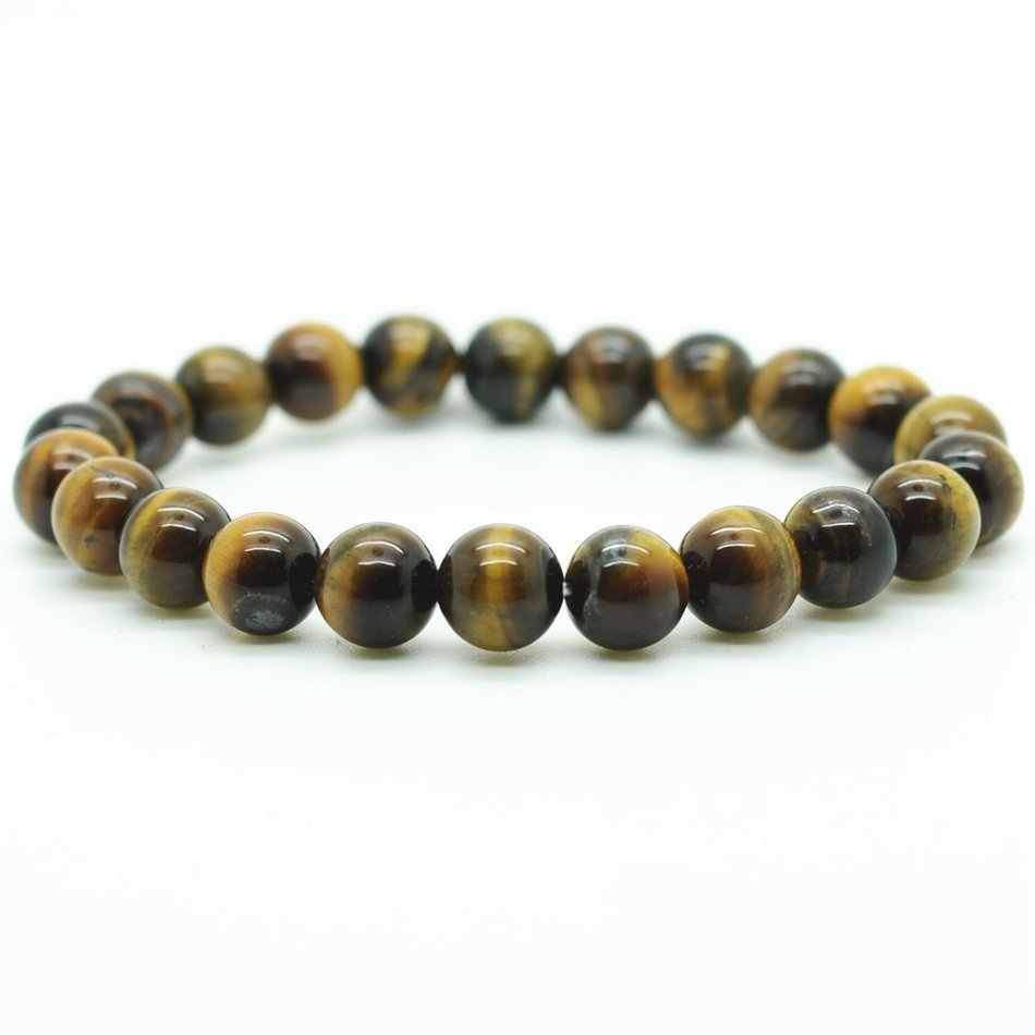 6/8/10/12mm Tiger Eye Natural Beads Men Strand Bracelets & Bangles Charms  With Stones Brand Jewelry