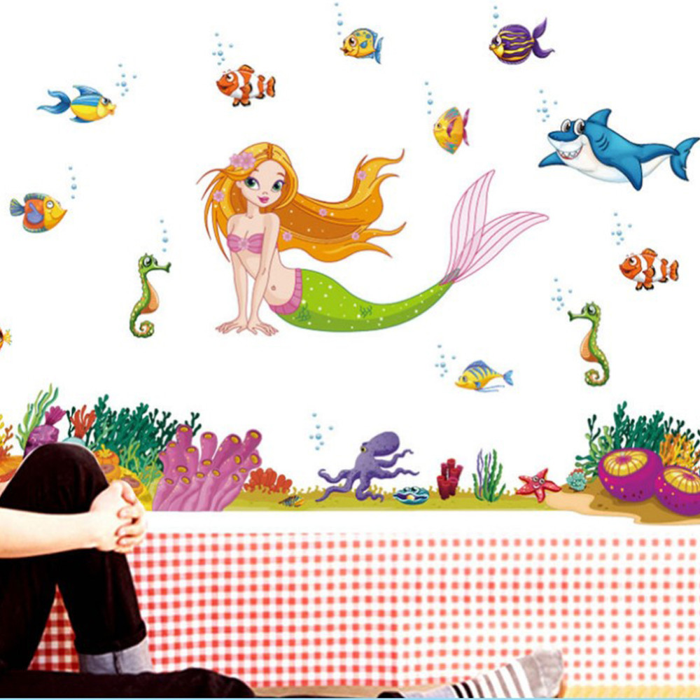 Kids mermaid bathroom decor - Cartoon Mermaid Fish Wall Stickers Home Decor Bathroom Diy Poster Animal Wallpaper Removable Sticker Nursery Kdis