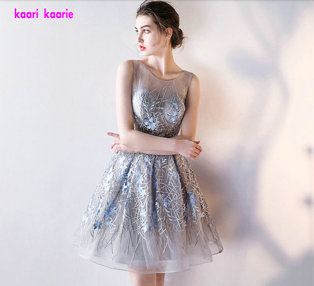 Robe De Soiree Courte Short Prom Dress 2018 Sexy Silver Lace Prom