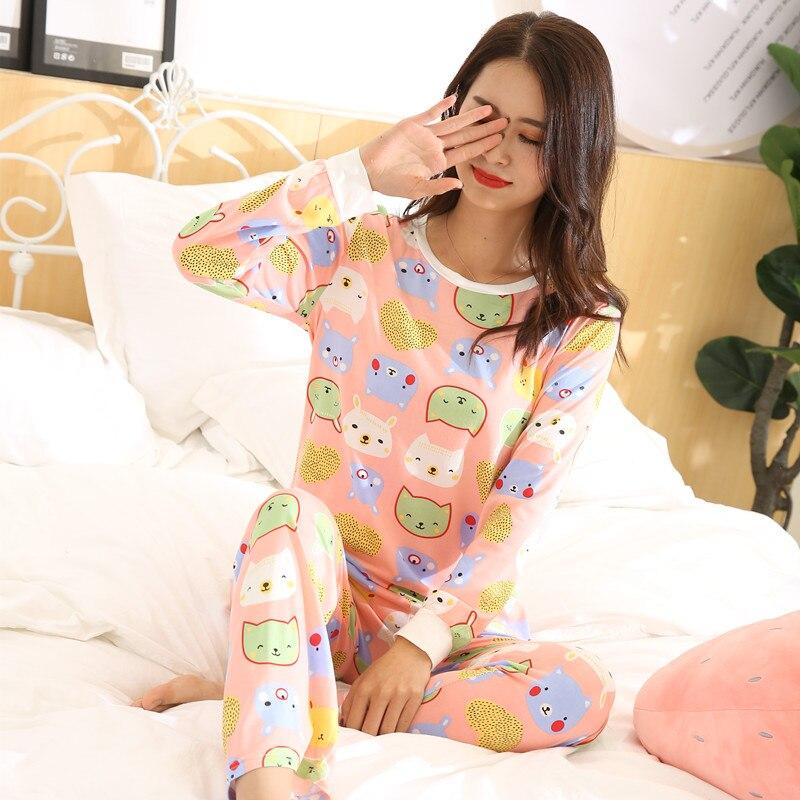 Women Pajamas Winter Pajama Sets Printing Cartoon Cat Long Sleeve 2 Piece Suit Sleepwear Female Milk Silk Pijama Spring Pajama