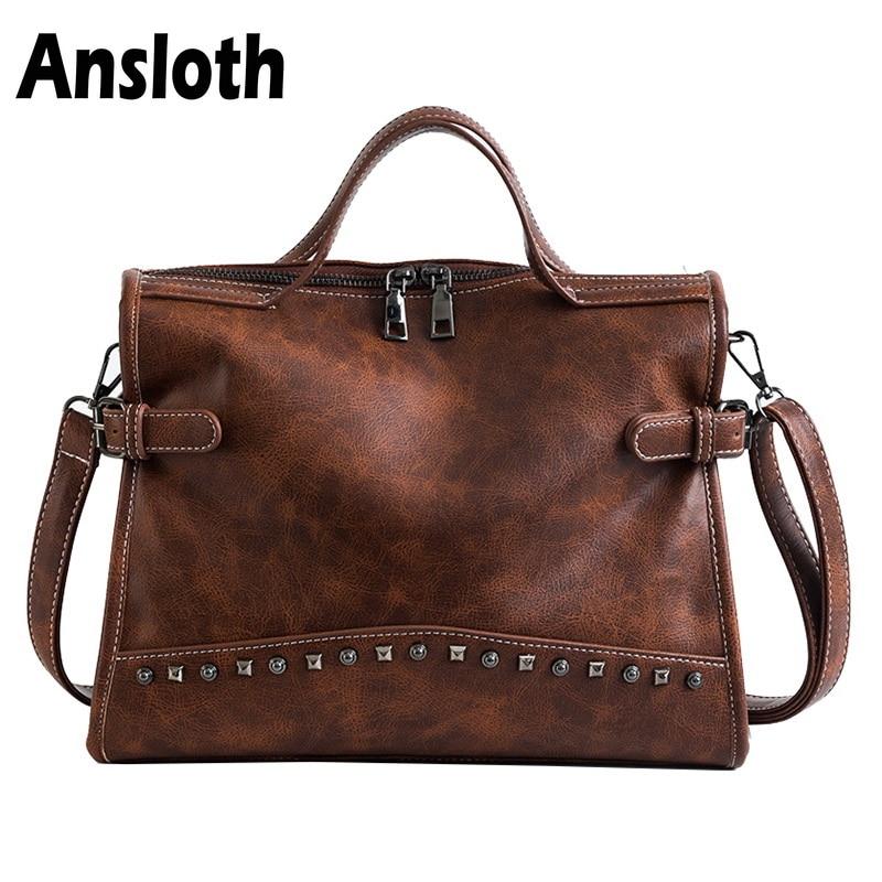 Ansloth Vintage Women Bag Fashion Rivet Shoulder Bag PU Leather Large Totes Women  Handbags Casual Crossbody Bag For Lady HPS197 235a6350adc96