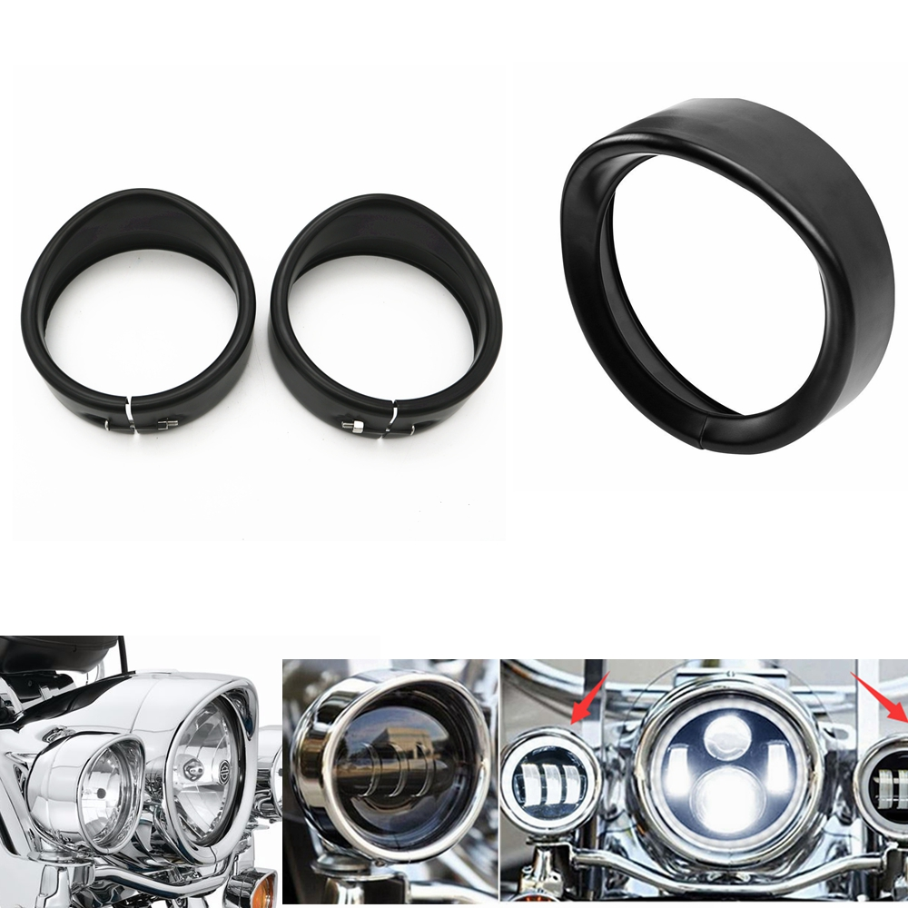 Frames & Fittings Logical 7 Black/chrome Headlight Headlamp Trim Ring For Harley 4.5 Inch Fog Light Trim Ring For Harley Touring Road King Electra Glide