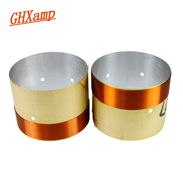 GHXAMP 77mm Woofer Bass Voice Coil With Venting Hole White Aluminum 2 layer Round Copper Wire Repair Parts 2PCS
