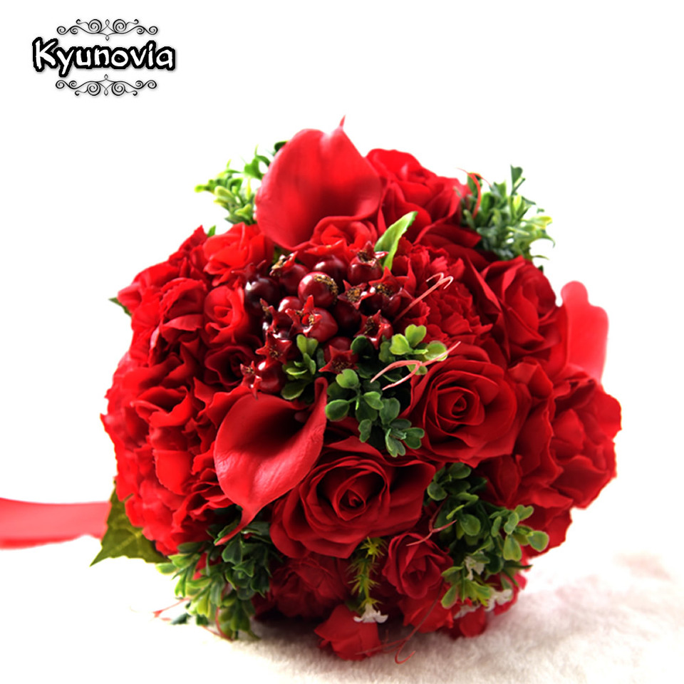 Kyunovia Red Real Touch Wedding Bouquets Wedding Decorations
