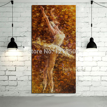 High Quality handpainted Original Dancing Ballerina Oil Painting Famous Artist handPainted Abstract Ballet Girl Wall