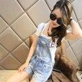 Mujer moda verano pantalones delgados visten pantalón blanco de la correa JEANS monos Shorts