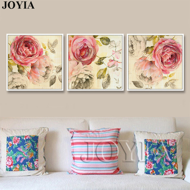Charmant Triptych Wall Art Canvas Traditional Rose Flower Vintage Paintings For Home  Living Room Bedroom Wall Decor